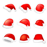 Set of santa hat. Vector