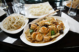 Chinese food with shrimps.
