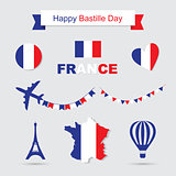 French flag and map icons set. Eiffel Tower icon