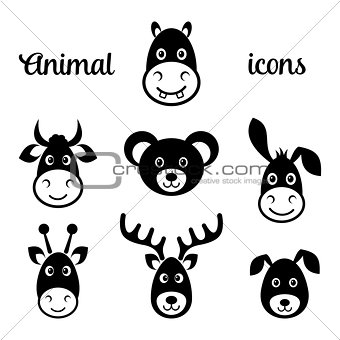 Black vector animal face icons