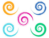 Spiral vector brush strokes collection