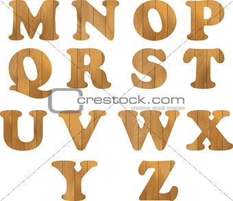 Alphabet made of wooden letters isolated on white background