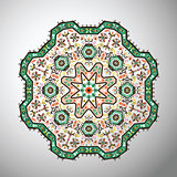 Ornamental round colorful geometric pattern in aztec style