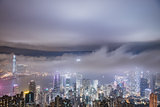 Uban fog View of Hong Kong from Victoria peak