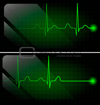 Abstract heart beats cardiogram on green monitor