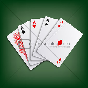 Aces poker playing cards game template