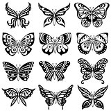 Set of twelve black butterflies