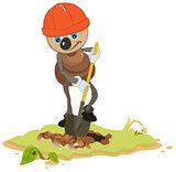 Ant Worker digging shovel pit