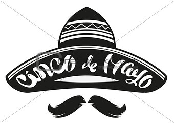 Cinco de Mayo. Mexican wide brimmed hat sombrero. Lettering text header for greeting card