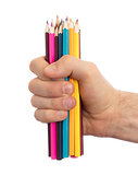 Used pencils in hand isolated