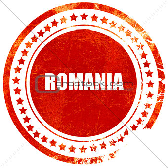 greetings from romania, grunge red rubber stamp on a solid white