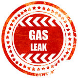 Gas leak background, grunge red rubber stamp on a solid white ba