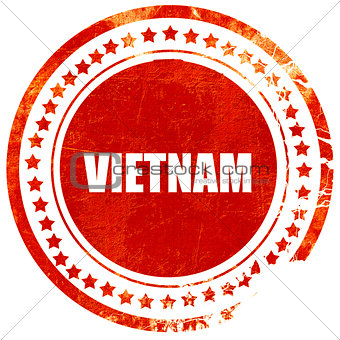 Greetings from vietnam, grunge red rubber stamp on a solid white