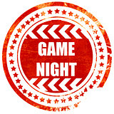 Game night sign, grunge red rubber stamp on a solid white backgr