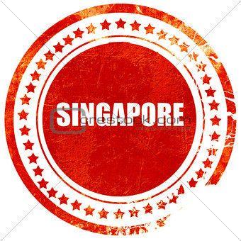 Greetings from singapore, grunge red rubber stamp on a solid whi