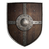 medieval crusader wooden shield isolated 3d illustration