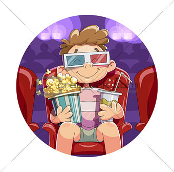 Boy with popcorn and drink in cinema