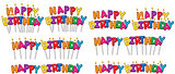 Colorful Happy Birthday Text Candles On Sticks Set 1