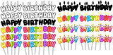 Colorful Happy Birthday Text Candles On Sticks Set 2