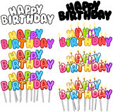 Colorful Happy Birthday Text Candles On Sticks Set 3