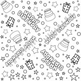 Happy Birthday Pattern Lineart