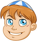 Jewish Boy Head With Blue And White Kippah