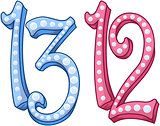 Pink Blue Shiny Number 12 13 For Bar Bat Mitzvah