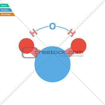 Flat design icon of chemical molecule water