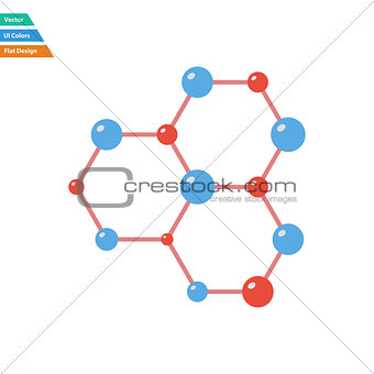 Flat design icon of chemistry hexa connection