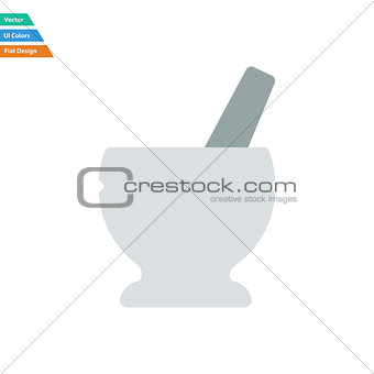 Flat design icon of chemistry mortar