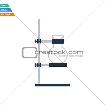Flat design icon of chemistry flask griped in stand