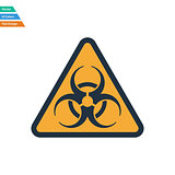 Flat design icon of biohazard