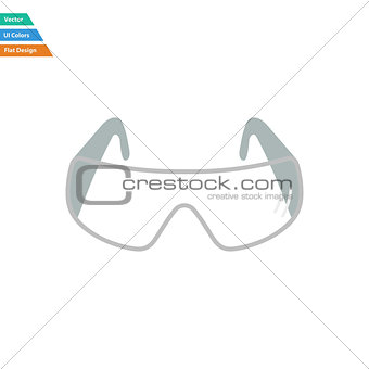 Flat design icon of chemistry protective eyewear