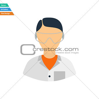 Flat design icon of chemist in eyewear