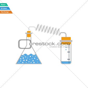Flat design icon of chemistry reaction with two flask
