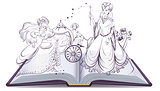 Tale of Cinderella. Open book fantasy tale. Fairy and Cinderella with the glass slipper