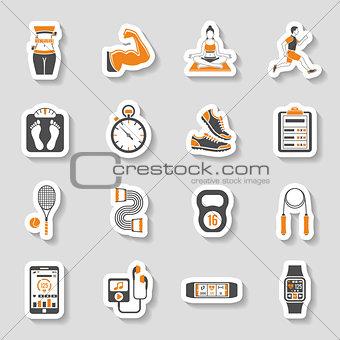Fitness Icon Sticker Set