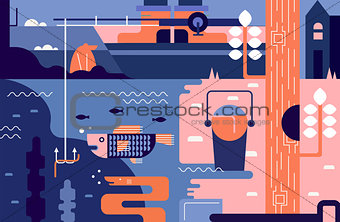 Fishing abstract background
