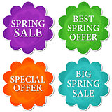 spring sale and offer in four colors flowers labels