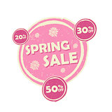 spring sale and percentages off, pink round drawn label