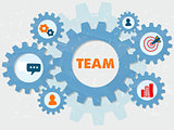 team and symbols in grunge flat design gears infographic