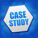 case study in hexagon over blue background, flat design