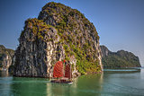 Traditional ships sailing in Halong Bay, Vietnam