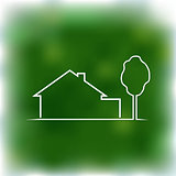 Logotype of house on a green background.