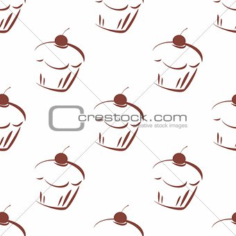 Tile vector pattern with cherry cupcakes on white background