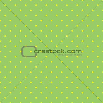 Tile vector pattern with yellow polka dots on  green background