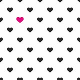 Tile vector pattern with pink and black hearts on white background