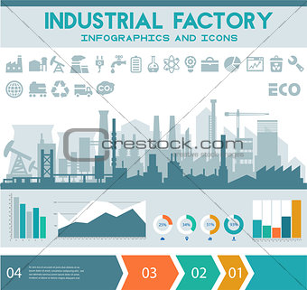 Flat industrial factory inforgraphics template