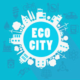 Vector eco town illustration