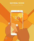 Hands Holding Abstract Smartphone With Material Background